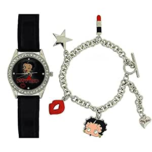 Ensemble Cadeau avec Montre Betty Boop Analogique pour Femme/Fille & Bracelet Orné de 5 Breloques