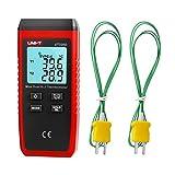 GALOOK UNI-T UT320D Dual Kanal K/J Digitales Thermometer, LCD Hintergrundbeleuchtung Temperaturmessgerät mit 2 K-Typ Messsonde für Industrie,...