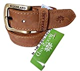 Walletking Men's LEATHER Belt (wd66_Brow...