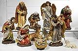 Idea Natale: Presepe natività in resina composto da 11 statue con soggetti alti fino a 34 cm