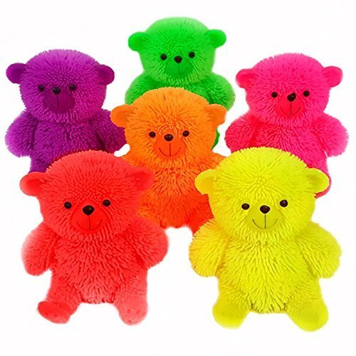 Flashing Puffer Teddy Bear Squidgy Sensory Toy by Blue Frog Toys - Blue Puffer