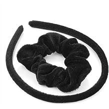 Set–Cubierto de tela de terciopelo negro Alice banda de pelo y coletero pelo banda Set