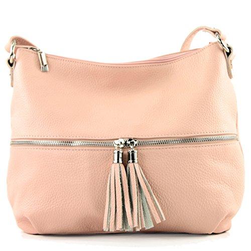 modamoda de - ital. Ledertasche Damentasche Umhängetasche Tasche Schultertasche Leder T159 Rosa