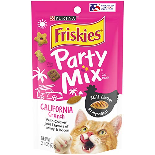 Friskies Party Mix Cat Treats, California Dreamin Crunch, Chicken, Turkey & Bacon Flavors, 2.1-Ounce Pouch by Purina Friskies