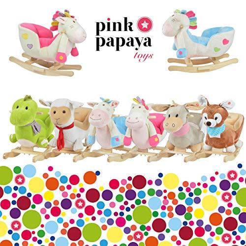 Pink Papaya Schaukeltier – Esel Pepe – Kinder und Baby Schaukelpferd, spezieller Schaukelstuhl für Kinder, mit Sound, Kopfhöhe ca. 50 cm, Sitzhöhe ca. 30 cm - 7