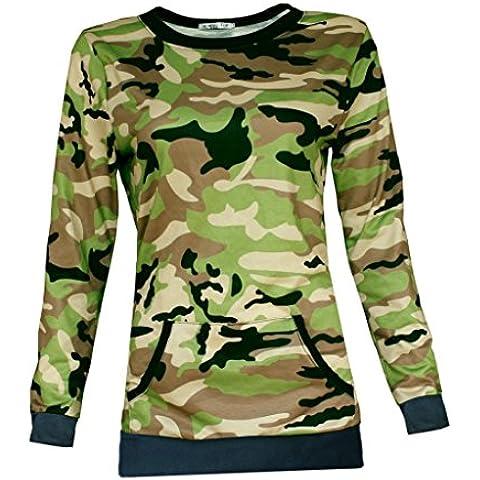 Tongshi Señoras para mujer del estampado camuflaje del bolsillo de la camiseta de la blusa camisas Suéteres Tops