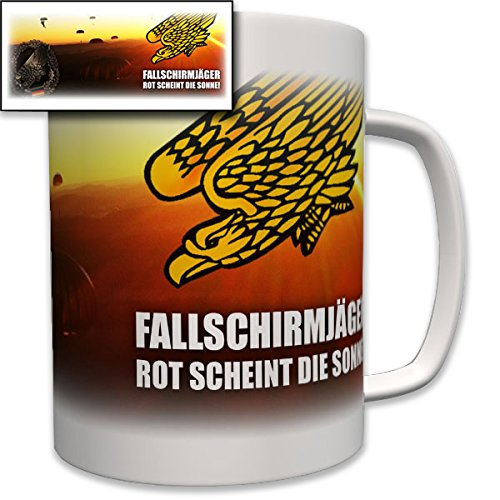 Fallschirmjäger - rot scheint die Sonne! Fallschirm Fallschirmsprung Bundeswehr Bw Wappen Abzeichen Emblem - Tasse Becher Kaffee #6981 (Fallschirm-aufkleber)