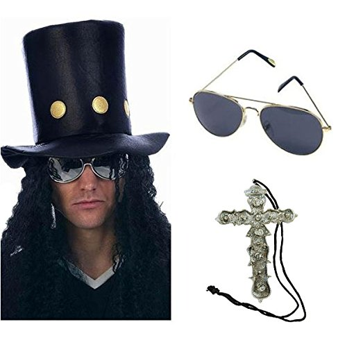 Slash Heavy Metal Rocker Hat with Wig, Sunglasses & Crucifix Necklace