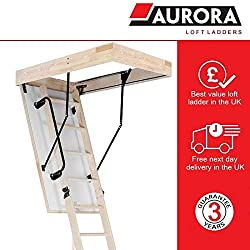 Aurora Thermo Folding Timber Attic / Loft Ladder & Insulated Hatch. 55 x 110cm