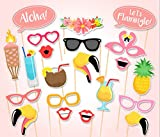 Rzctukltd Flamingo 21PCS Photo Booth Props Tropical Hawaiian Summer Hen Party Night Games
