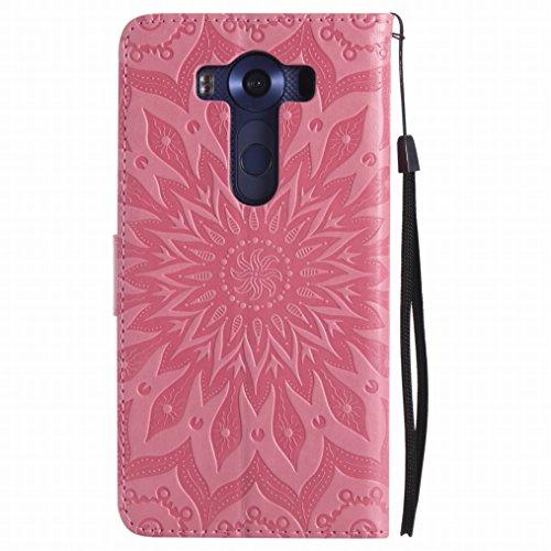 LEMORRY LG V10 Custodia Pelle Cuoio Flip Portafoglio Borsa Sottile Bumper Protettivo Magnetico Morbido Silicone TPU Cover Custodia per LG V10, Fiorire Rosso Rosa