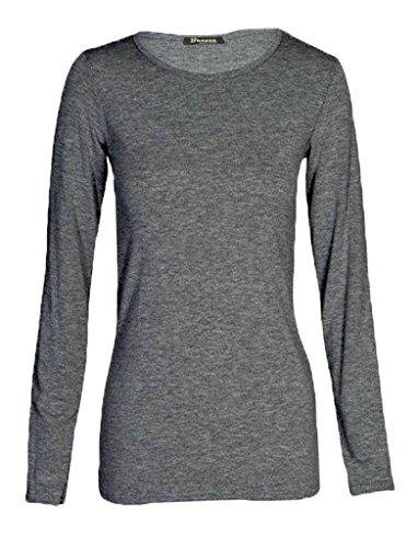Maglietta elasticizzata da donna, a maniche lunghe, taglie forti, taglia: 48 50 52 Charcoal