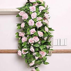Guirnalda de flores artificiales OPUSS; rosas de seda, longitud de 2,4 m, para decoración de bodas, casa, habitación…