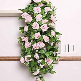 Guirnalda de flores artificiales OPUSS; rosas de seda, longitud de 2,4 m, para decoración de bodas, casa, habitación, hotel, oficina, jardín, exterior