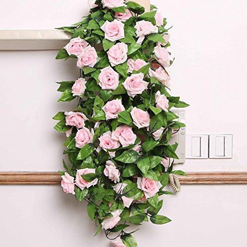 Guirnalda de flores artificiales OPUSS; rosas de seda, longitud de 2,4 m, para decoración de bodas, casa, habitación, hotel, oficina, jardín, exterior, rosa claro, Estándar