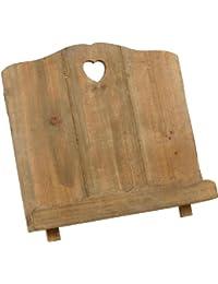 Titular de la receta del cocinero de madera Soporte de libro Detalle del corazón del estilo de país rústico lamentable de la vendimia