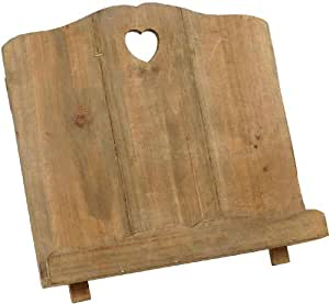 Wooden Recipe Holder Cook Book Stand Heart Cut Out Rustic