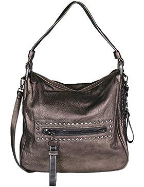 Mevina Damen Handtasche mit Nieten Leder-Optik Schultertasche Henkeltasche Shopper Umhängetasche 42x34x18 cm (...