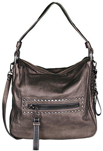 Mevina Damen Handtasche mit Nieten Leder-Optik Schultertasche Henkeltasche Shopper Umhängetasche Bronze A1316 (Hobo Bronze)