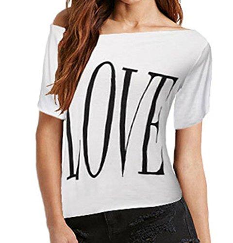 Blansdi Damen Sommer Lässige Basic Lose LOVE-Brief Drucken Print Kurz  Ärmeln Schräg Schulter T