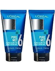 L'Oréal Paris Studio Line Pure Wet Gel Coiffant Effet Mouillé 24H Fixation Forte - Lot de 2