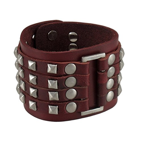 Pelle marrone 4 fila Chrome Pyramid Stud Wristband