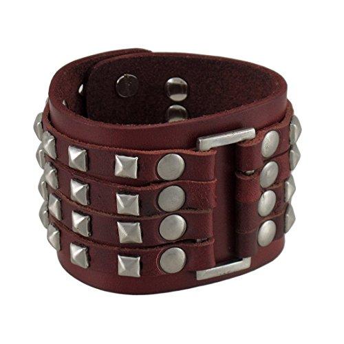 Pelle marrone 4fila Chrome Pyramid Stud Wristband