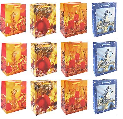 12 Stück Geschenktüten Weihnachtsgesteck, Rentiere -Gross 23x18x10 cm