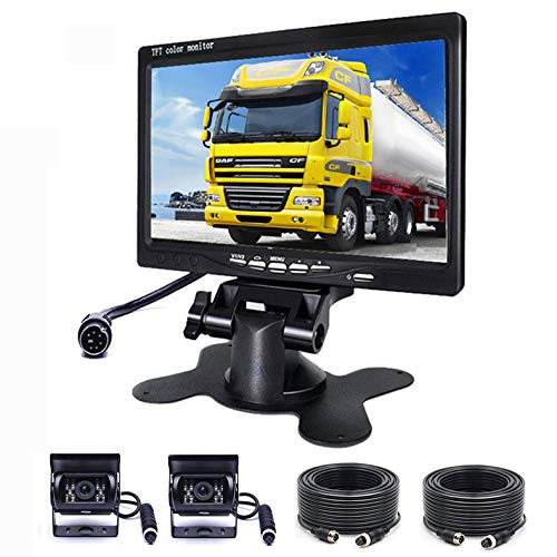 SSCJ Auto-Rückfahrkamera 7-Zoll-TFT-LCD-Spiegelmonitor 18 LEDs, LKW-HD-Digital-Rückfahrbild DVD-LCD-Desktop-Anzeige Front- und Heck-Dual-Kamera Desktop Digital Digitale Kamera