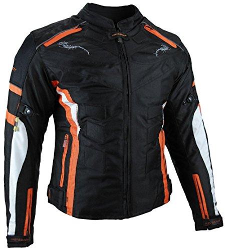 Heyberry Damen Motorrad Jacke Motorradjacke Textil Schwarz Orange Gr. S / 36 - 2