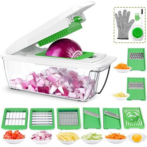 Multiusos Cortador de Verduras 13 en 1 Mandolina de Cocina, 7 Cuchillas con Guantes Resistentes a los Cortes, Separador de Claras de Huevo para Cortar Frutas Verduras