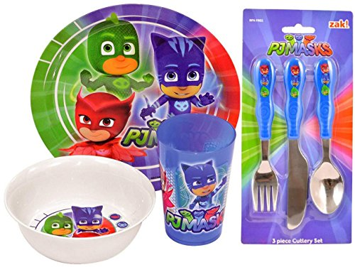 PJ Masks 6-Piece Dinner and Cutlery Set | Tumbler, Bowl, Plate, Knife, Fork and Spoon