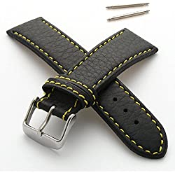 28mm Watch Strap in Genuine Leather with Yellow Stitching - New Spring Bars Supplied