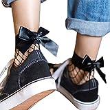 HARRYSTORE Frauen 2017 Mode Rüsche Fischnetz Knöchel Hohe Socken Mesh Spitze Bow-Knoten Kurze Socken (E)