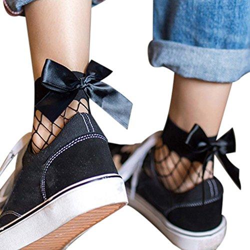HARRYSTORE Frauen 2017 Mode Rüsche Fischnetz Knöchel Hohe Socken Mesh Spitze Bow-Knoten Kurze Socken (E) (Spitze Hohe Knie Socken)