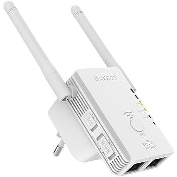 dodocool Ripetitore Wifi Universale N300 AP/Router/Ripetitore 3-in-1 Wireless 2.4GHz 300Mbps Supporto 802.11n/b/g Rete Range Extender Segnale Booster Mini con 2 Antenne Esterne Spina Bianco