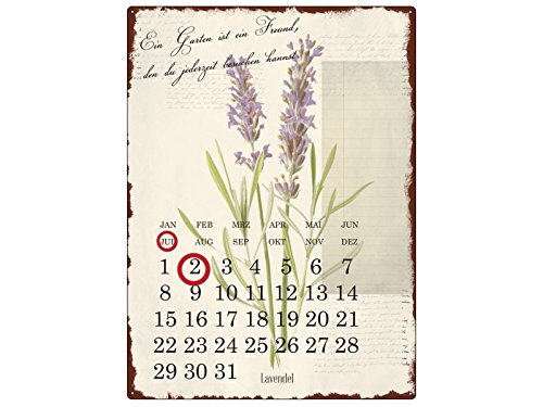 INTERLUXE WANDKALENDER Blechschild Kalender EIN GARTEN IST EIN FREUND Gartenhaus Shabby Vintage...