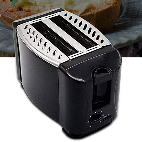 Mbbj tostapane, colore nero tostatura in acciaio inox accompagnatore briciole accompagnatore automatico pulsante annulla ampio scomparto a 2 sezioni protezione antisurriscaldamento
