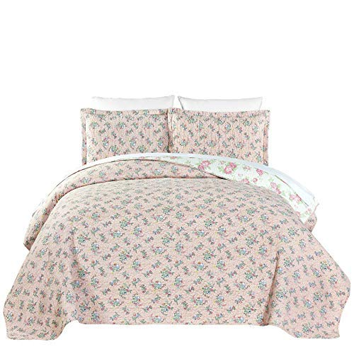 chezmoi Collection 3-teilig rosa Rose Floral Garden Wende Vintage Washed 100% -cotton Quilt Set, baumwolle, rose, Queen Rosa Rose Cottage