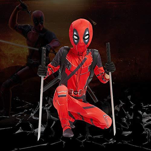 Superhelden Kostüme Erwachsene Herren Deadpool Kostüm Kinder,Zubehor Rucksack, Doppelmesser,Cosplay Overall Kostüm,Halloween Karneval Kostüm,Red-150 (Kostüme Rächer Für Mädchen)