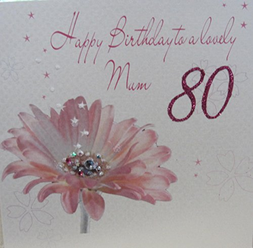 WHITE COTTON CARDS Glückwunschkarte zum 80. Geburtstag, Aufschrift Happy 80th Birthday to a Lovely Mum, handgefertigt, Motiv: rosane Gerbera (80th Birthday Card)