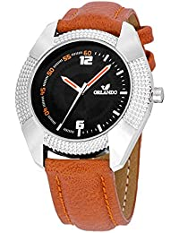 Orlando® Branded Japan Movement With Black Dial & Brown Leather Belt Watches For Men - W1305T01BXZXZ