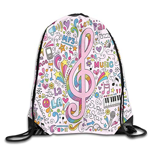 Groovy Cord (EELKKO Drawstring Backpack Gym Bags Storage Backpack, Music Clef Groovy Psychedelic Doodles Hand Drawn Hippie Symbols Signs Artwork,Deluxe Bundle Backpack Outdoor Sports Portable Daypack)