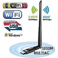 Boluomi USB 1200Mbps Wifi Adaptador 5dBi Antena Wifi USB Inalámbrico Dual Band (5GHz 866Mbps / 2.4GHz 300Mbps) Receptor Wifi Dongle Wifi para Windows 10 / 8.1 / 8/7 / XP / Vista MAC OS