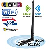Adattatore WiFi 1200 Mbit/s Dual Band (5G/866Mbps + 2.4 G/300Mbps) 5dBi Antenna WLAN Stick Wlan Adapter USB 3.0 ,Wireless Dongle Wifi per Desktop/PC/Laptop Windows 10/8.1/8/7/XP/Vista MAC OS Boluomi