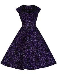 Pretty Kitty Fashion Lila Flock Flügelärmeln 50er Swing-Kleid