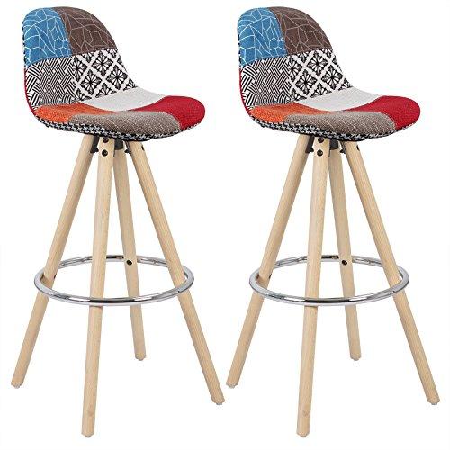 Woltu bh45mf-2 sgabelli da bar sedia cucina con schienale tessuto di lino gambe legno patchwork 2 pezzi
