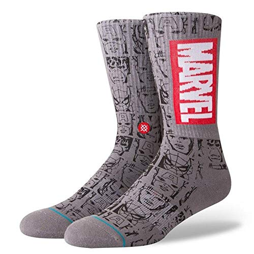 Haltung Mens Neue Klassische Crew Komfort Marvel Icons Socken Grau Medium UK 6 - UK 8.5