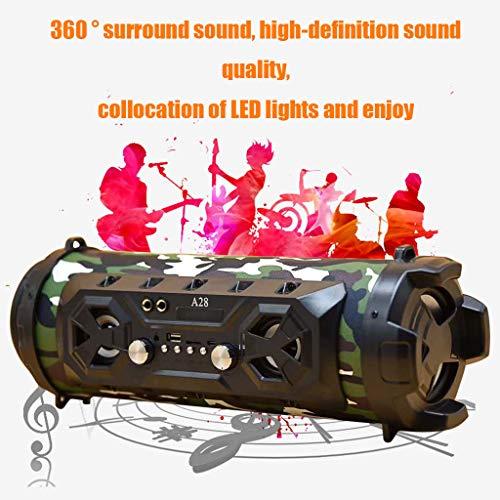 Webla Enceinte Bluetooth, caisson de basses FM stéréo à LED BT4.2 sans fil, haut-parleur auxiliaire USB, 39x17x17cm