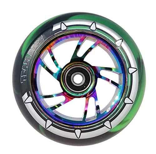 1x Team Dogz 100mm Rainbow Swirl Legierung Stunt Scooter Rad Mit Gemischten 88A PU Gummi und Neo chrom Ölpest Jet Fuel Core, Green & Black PU